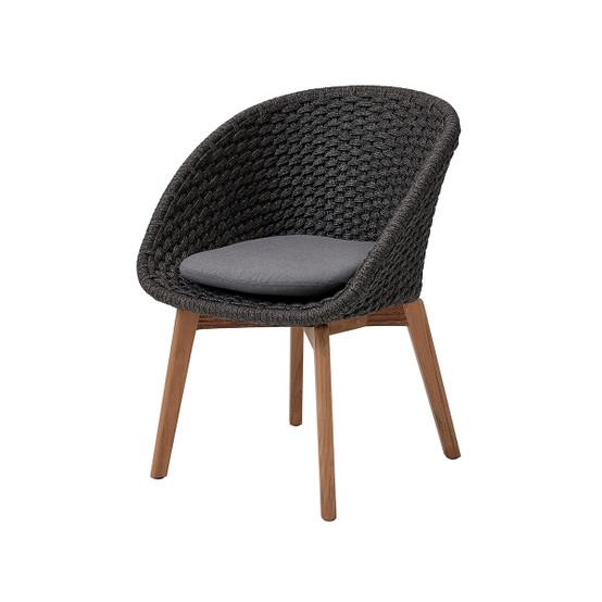 Peacock Dining Chair Cushion in Grey Sunbrella Natte