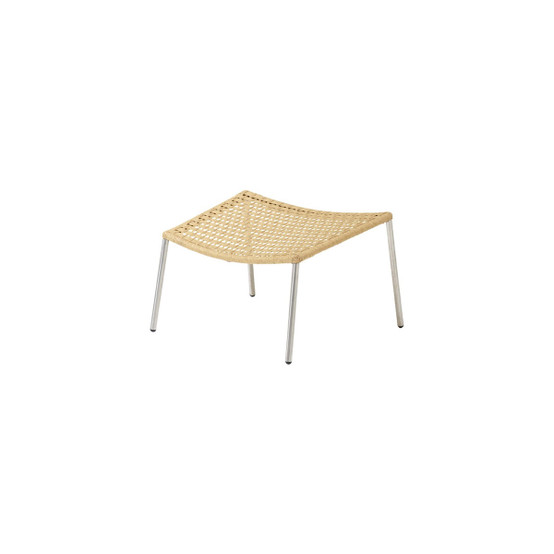 Straw Flat Paper Yarn Footstool in Natural