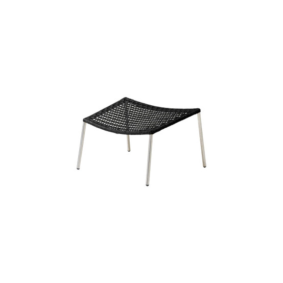 Straw Flat Paper Yarn Footstool in Black