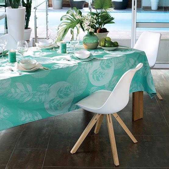 Mille Verdoyant Coated Fabrics in Turquoise (Price/Inch)