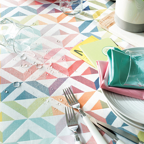 "Mille Twist 59"" Square Coated Tablecloth in Pastel"