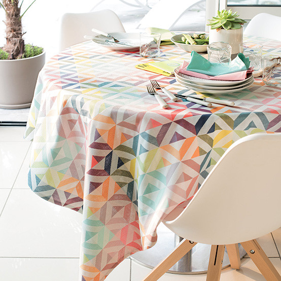 "Mille Twist 59"" x 87"" Coated Tablecloth in Pastel"