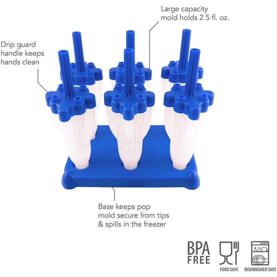 Rocket Pop Molds in Blue, Set of 6