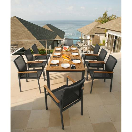 """Narrow Rectangular Dining Table: Aura Rectangular """"Skinny"""" Dining Table With Teak Top"""