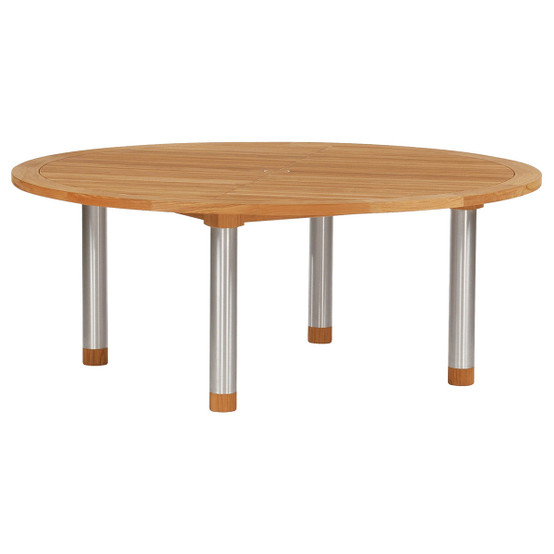 Equinox 70 Inch Circular Dining Table with Teak Top