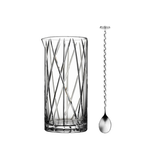 City Mixing Glass with bar spoon