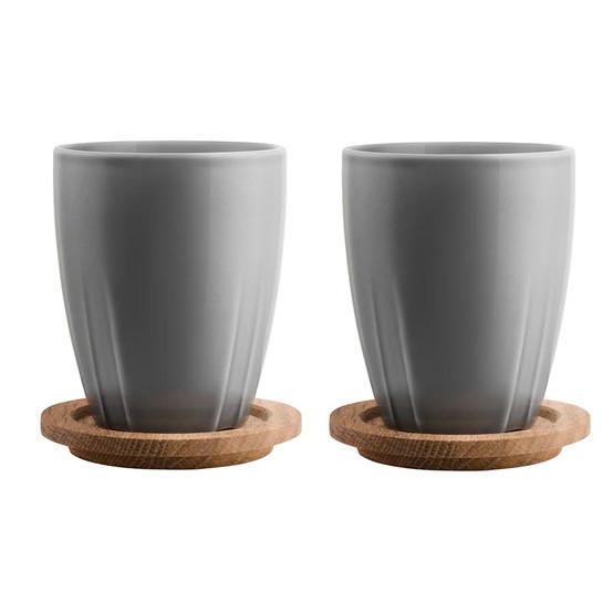 Bruk Mug with Oak Lid in Grey, Set of 2