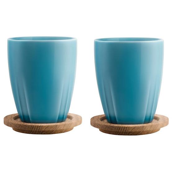Bruk Mug with Oak Lid Sea Turquoise, Set of 2