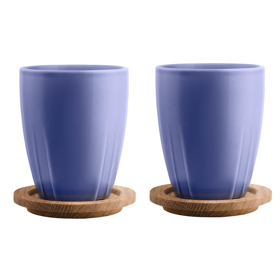 Bruk Mug with Oak Lid Denim Blue, Set of 2