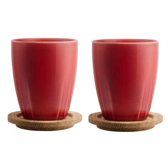 Bruk Mug with Oak Lid Bordeaux Red, Set of 2