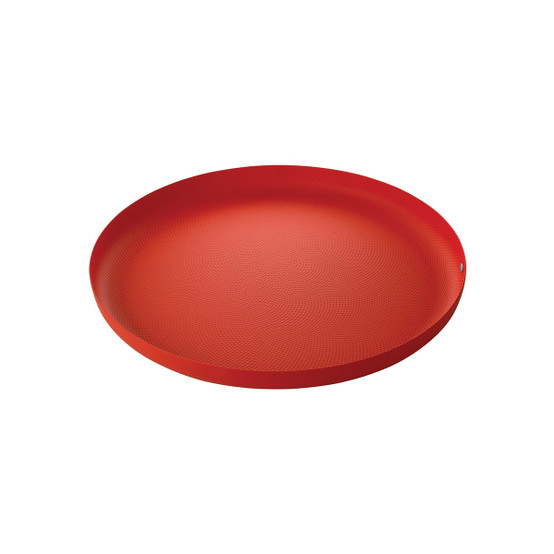 Round Textured Tray in Red