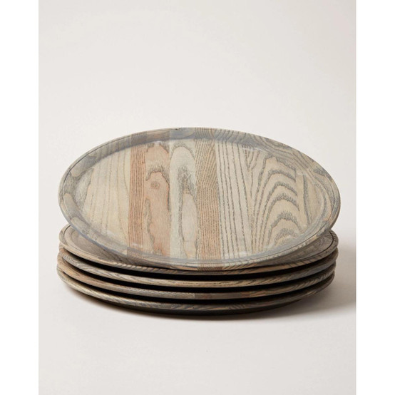 Crafted Wooden Charger in Grey