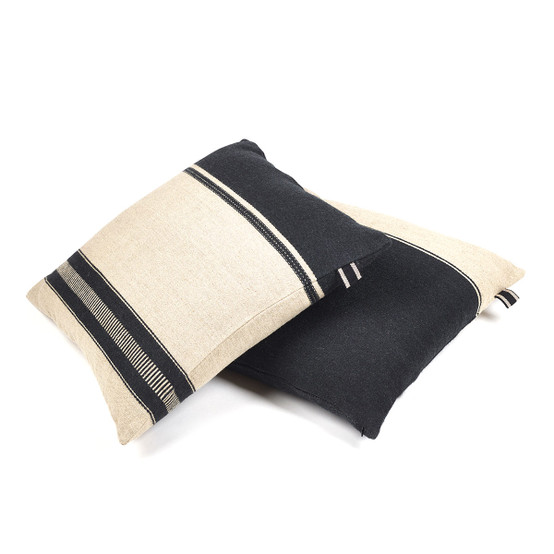 Marshall Pillow Cover in Black Flax 25 x 25