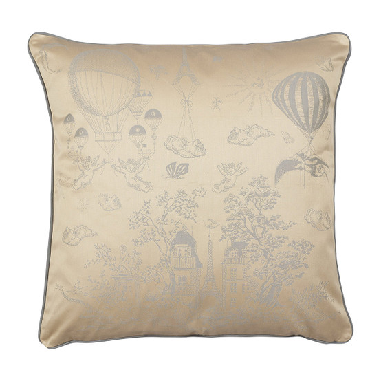 Voyage Extraordinaire Cushion Cover in Or Pale
