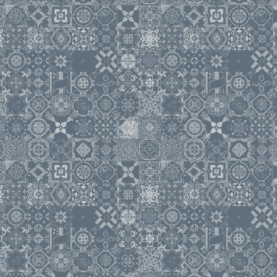 Mille Azulejos Coated Fabric in Bleu Ardoise (Price/Inch)