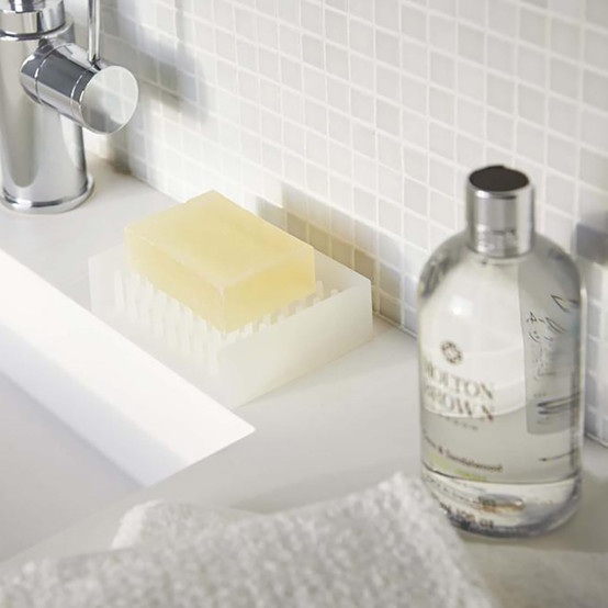 Float Self Draining Soap Tray in White