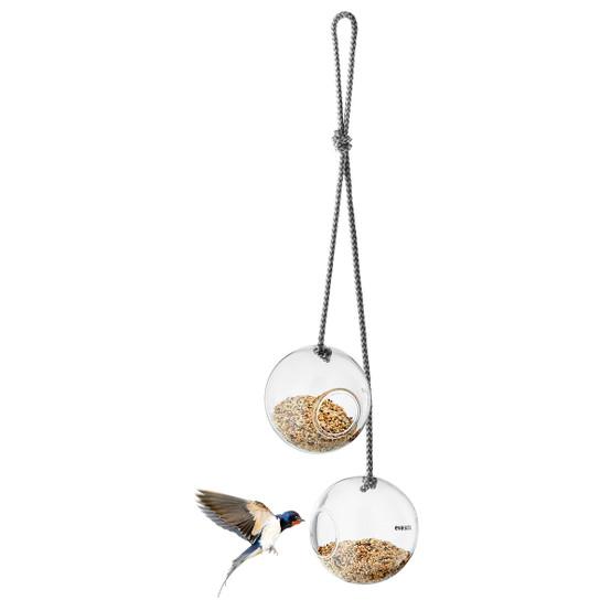Glass Bird Feeder 2pc Set