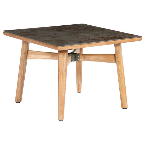 """Monterey 39"""" Square Teak Table with Ceramic Top in Oxide with Parasol Hole"""