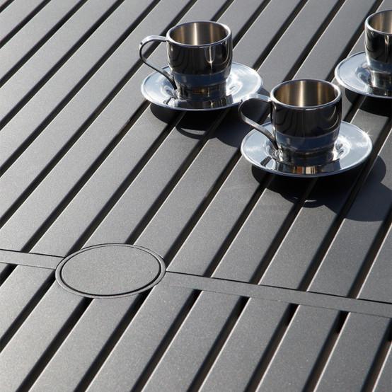 Aura Aluminum Top Rectangular Dining Table 79 inches