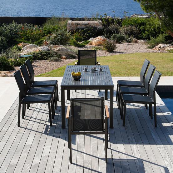 Aura Aluminum Top Narrow Dining Table 28 x 79 Inch