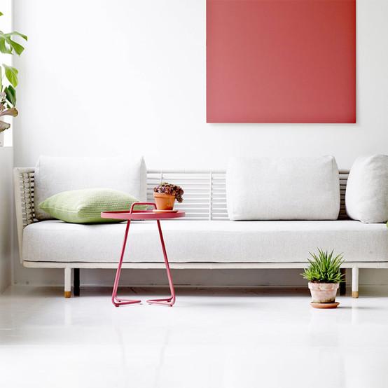 Sense 3-Seater Sofa in White with White Grey Cushion