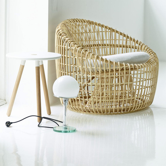 Nest Lounge Chair in Natural with Grey Cushion