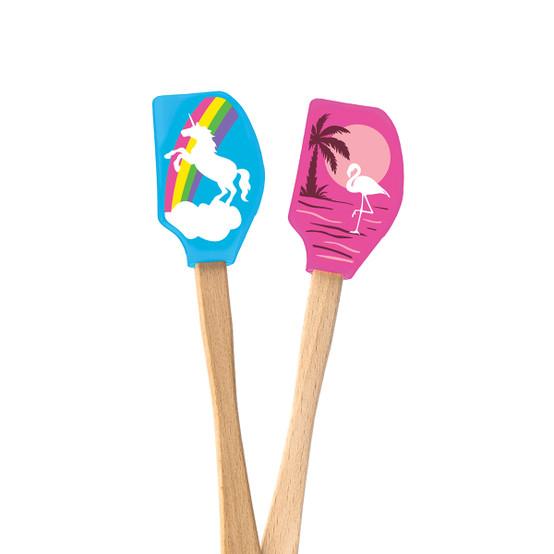 Spatulart Mini Spatulas, Set of 2 (Unicorn and Flamingo)