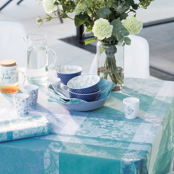 Mille Dentelles Turquoise Coated Tablecloth