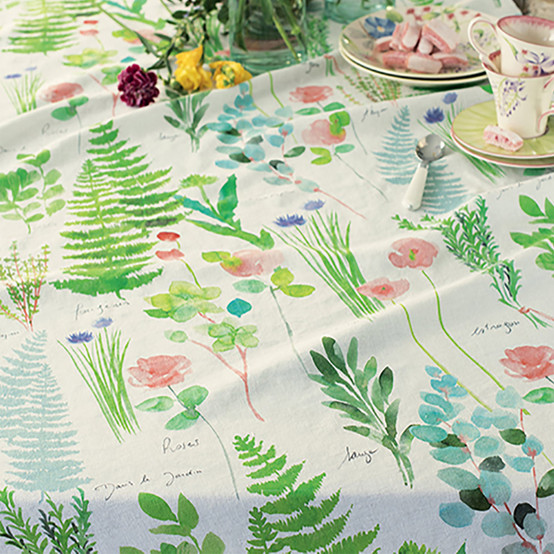 Mille Herbier Printed Tablecloth in Printemps