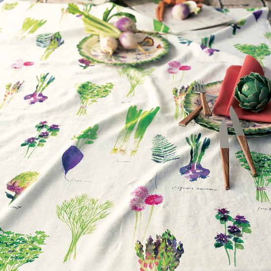Mille Potager Printed Tablecloth in Printemps