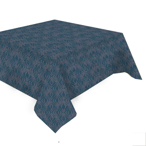 Mille Ikats Coated Tablecloth in Petrole