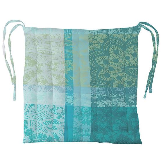 Mille Dentelles Turquoise Chair Cushion 15 x 15
