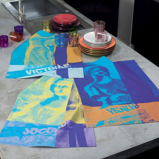 Turquoise Kitchen Towels: Garnier Thiebaut Louvre Victoire Turquoise Kitchen Towel