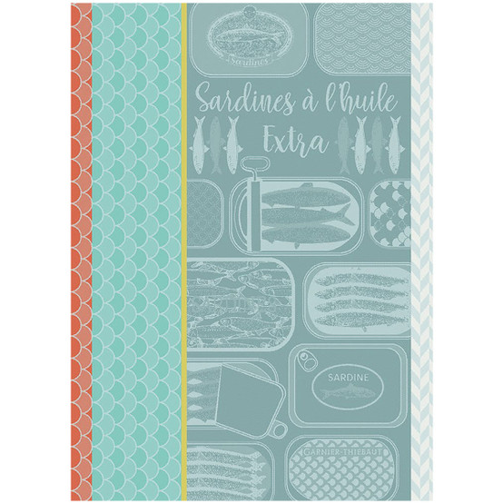 Sardines a l'huile Turquoise Kitchen Towel