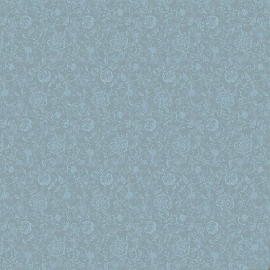 Mille Charmes Bleu Louis XVI Coated Fabric (Price/Inch)