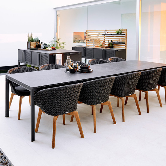 Drop Dining Table Extending Base in Lava Grey