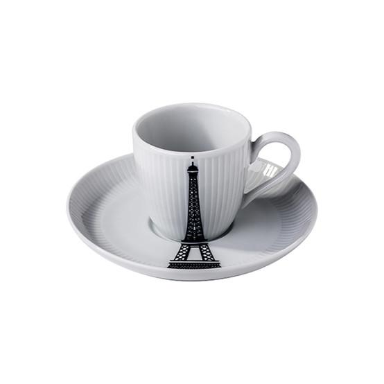Ville De Paris Eiffel Tower Plisse Espresso Cup + Saucer