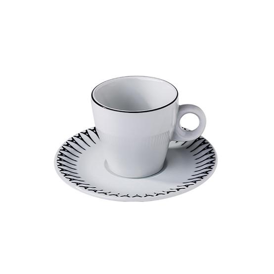 Ville De Paris Fluto Tea Cup and Saucer in Black