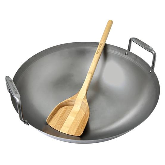 Carbon Steel Grill Wok w/ Bamboo Spatula