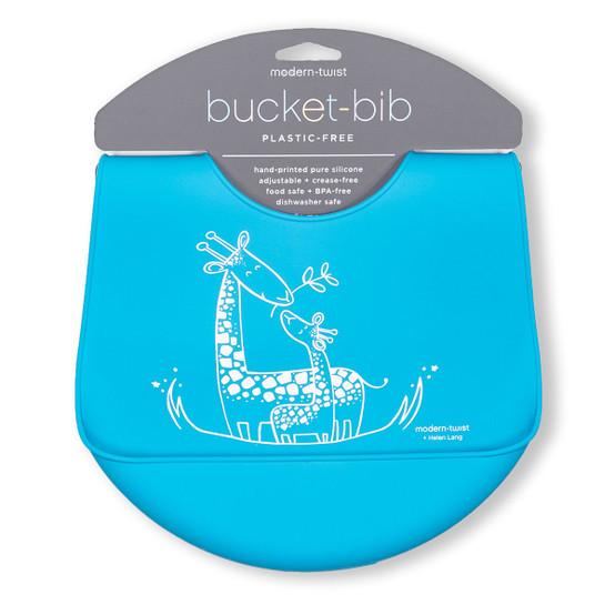 Bucket Bib : Giraffe Giggles in Electric Blue