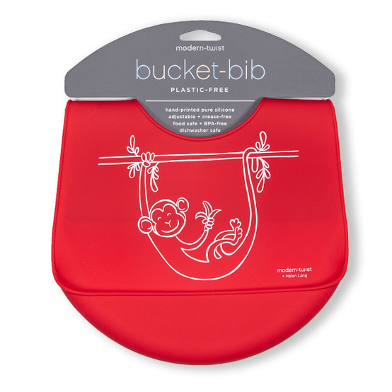 Bucket Bib : Monkey Business in Apple Red
