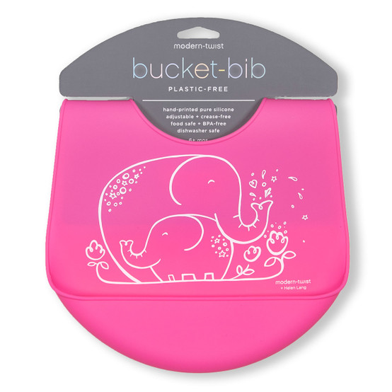 Bucket Bib : Elephant Hugs in Candy Pink