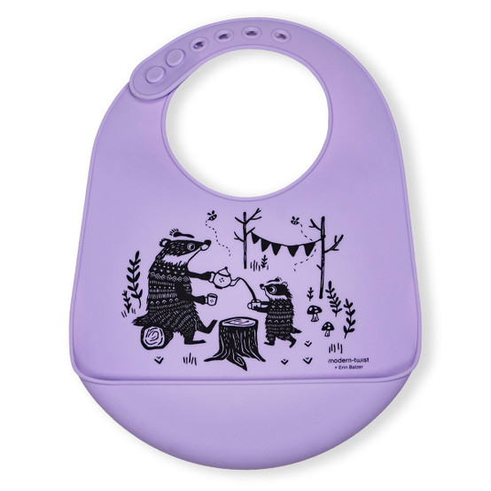 Bucket Bib : Badger Family in Lavender