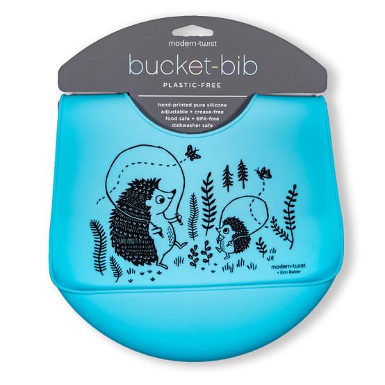 Bucket Bib : Hedgehog Family in Cornflower