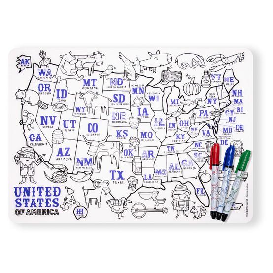 Mark-Mat Set: US Map + 3 Markers
