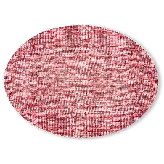 Oval Placemat in Cranberry Linen
