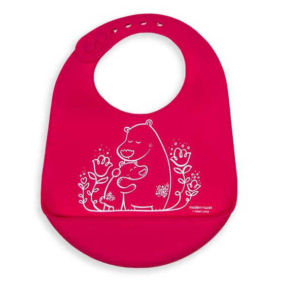 Bucket Bib: Bears - Berry Pink