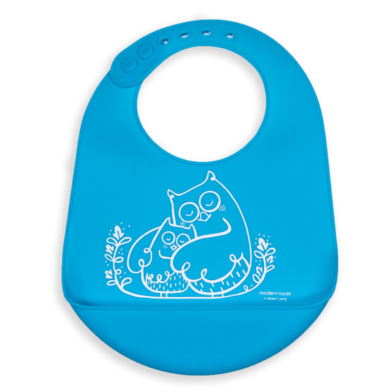 Bucket Bib : Owls in Electric Blue