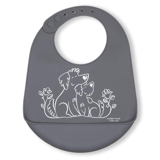 Bucket Bib : Puppy Love in Fuzzy Gray