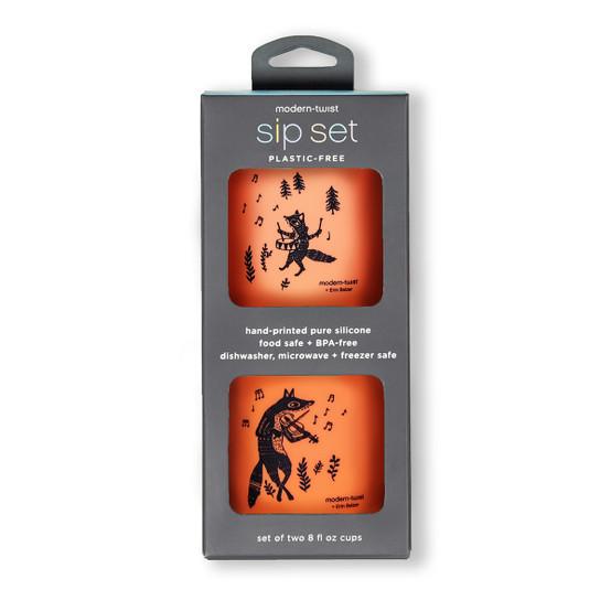 Sip Set : Fox Family in Orange